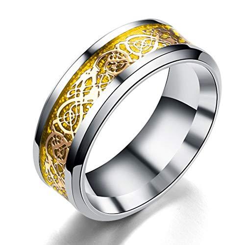 ERDING Unisex/Verlobungsring/Freundschaftsring/Herren Ring Schmuck Rot Blau Schwarz Drachen Inlay Comfort Fit Edelstahl Ringe für Herren Ehering Breit 8mm