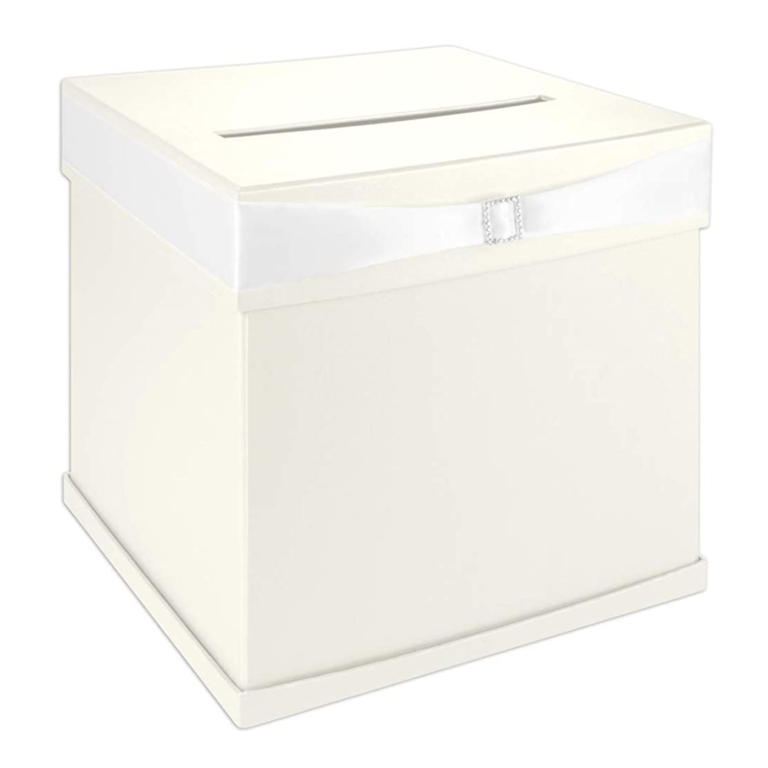 Andaz Press Ivory Wedding Card Box with Slot, White Satin Ribbon and Rhinestone Buckle, 10