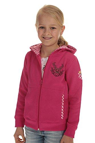 Ederer Isar-Trachten Kinder Jacke Trachtenjacke Mädchen pink, Kapuzenjacke Kinder Sweatjacke mit Hirschstickerei