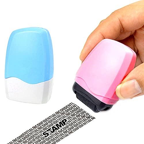 Rullstämpel sekretess, 2 stycken rullstämplar, rullstämpel kopia, rullstämpelskydd, stämpelskydd, lämplig för fakturor, kreditkort, kontoutdrag, skattinformation och vykort etc.