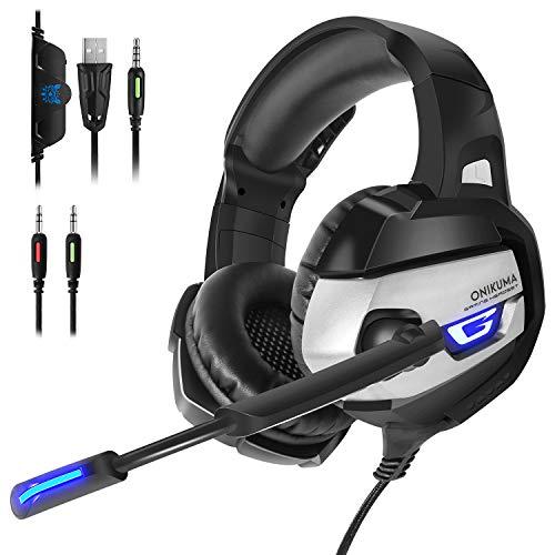 ONIKUMA K5 Auriculares para Juegos,Cascos Gaming para PS4 con Micrófono de Cancelación de Ruido, Sonido Envolvente, 50 mm, Auriculares Gaming para PC/Mac/Gaming Boy/Xbox On