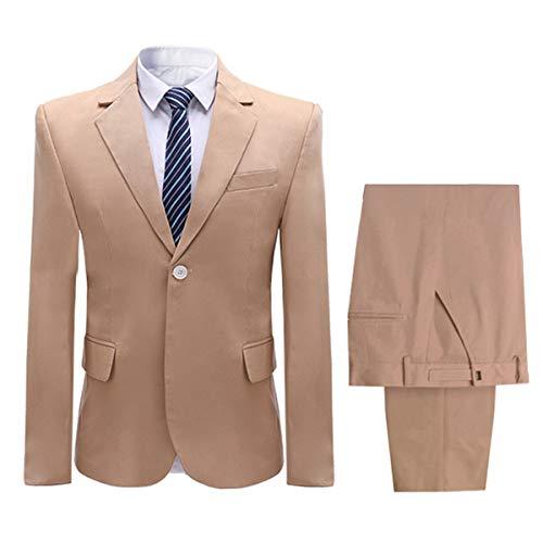 Men's 2 Piece Suit(Jacket+Trousers) One Button Closure Solid Color Suit Set