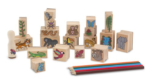 Melissa & Doug- Rain Forest Set di Timbri in Legno, Multicolore, 2423