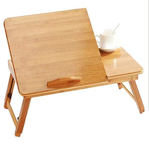 LVZAIXI La Table d'ordinateur Portable Peut être ajustée au tiroir supérieur incliné de Plateau de lit de Service de Petit déjeuner Pliable de Bambou de 100%, Taille: 55-62 * 30 * 20-30cm, 60-66 * 35