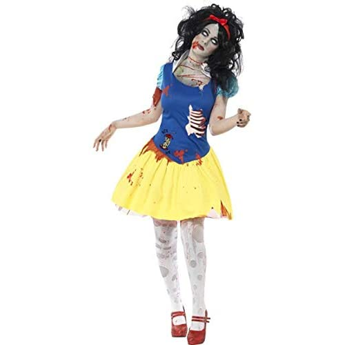 SMIFFYS Smiffy's Costume Zombie Snow Fright, Azzurro e Giallo, comprende Abito, Dettaglio in Latt Donna, Blu, L-EU Dimensione 44-46, 23352L