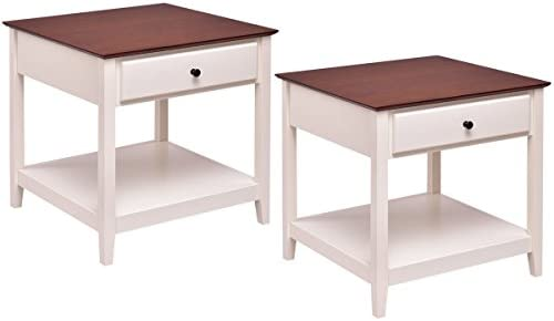 Best Giantex 2 Pcs Wood End Table with Storage Shelf Night Stand Coffee Table, Walnut & White