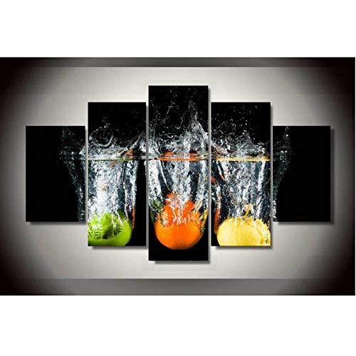 Fruit viel in de beker canvas schilderij op de muur foto's voor woonkamer Decor 5 Stks modulaire foto's 30x40 30x60 30x80cm frameless