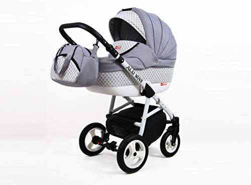Kinderwagen Alu Way, 3 in 1- Set Wanne Buggy Babyschale Autositz (Silver)