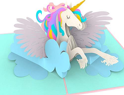 Geburtstagskarte, Einhorn auf Wolke, Unicorn, süße XXL 3D-Pop-Up-Karte, Einhornkarte,...