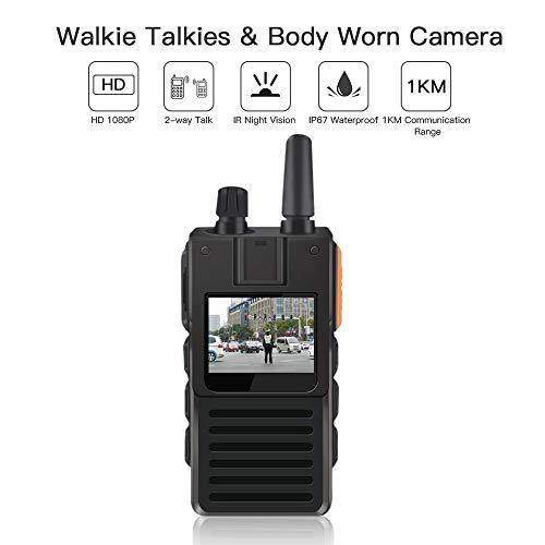 ONETHINGCAM Cámara Corporal WiFi para cámara de policía de Seguridad y 4G Walkie-Talkie AIO Full HD 1296P 30fps 32G Memoria Tiene Lente Gran Angular de 130 Grados con PTT