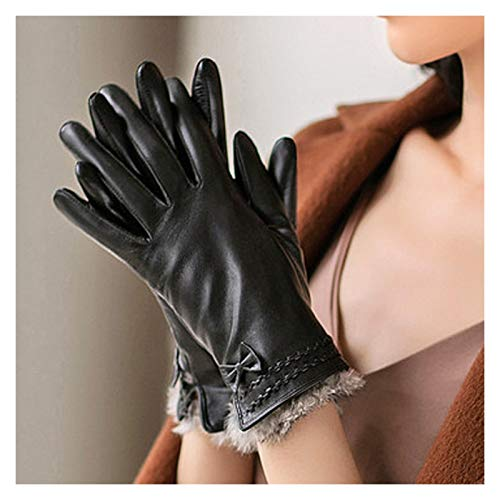 SUNRONG Gloves Winter Thickening Velvet Bow Fashion Warm Leather Gloves Outdoor Riding Cold Windshield Gloves Knit Gloves (Color : A, Size : L:18.5-20cm)
