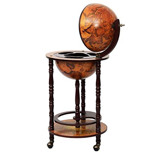 hello world1 New 36' Wood Globe Wine Bar Stand 16th Century Italian Rack Liquor Bottle Shelf