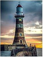 大人のための番号によるDIYペイント初心者用ブラシ付きキャンバス抽象芸術アクリルリビング孤独な灯台
