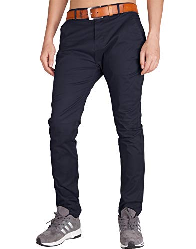 ITALY MORN Men's Slim Fit Casual Chino Pants 34 Dark Blue