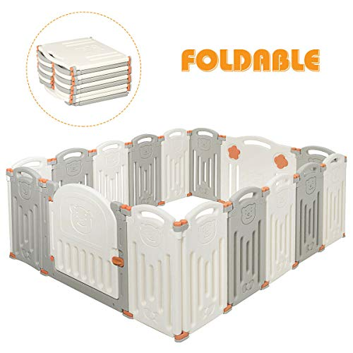 Sale!! Costzon Baby Playpen, 16-Panel Foldable Kids Safety Activity Center Playard w/Locking Gate, N...
