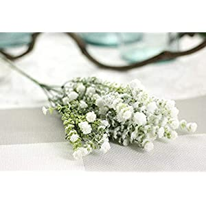 Silk Flower Arrangements Artificial and Dried Flower 2pc/lot 6 PC Bifurcation White Babies Breath Flowers Artificial Fake Gypsophila DIY Floral Bouquets Arrangement Weddin - ( Color: White )