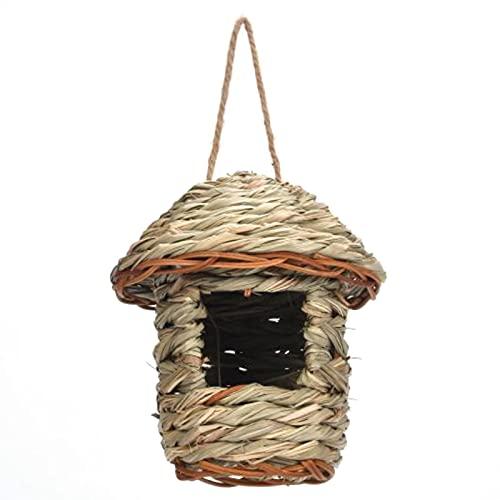 Luckxing Casetta per uccelli intrecciata a mano, da appendere, per giardino, decorazione esterna