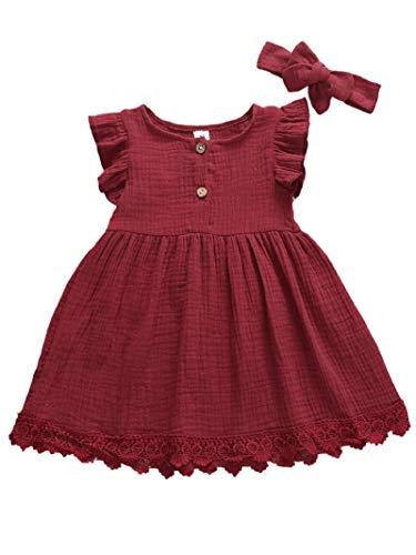 MAHUAOYIXI Vestito d'Estate Bambina Ragazze con Fascia Abito per Bambine Senza Maniche (Wine Red, 12-18mesi)