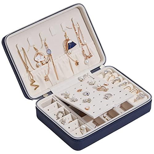 Caja de joyas de cuero portátil con pendientes y collar de moda, caja de almacenamiento de abalorios, azul marino