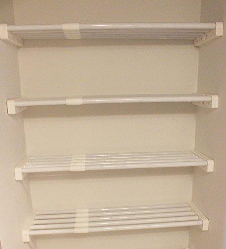 EZ Shelf - DIY Expandable Linen Closet Kit - Four 28-48 Expandable Shelves - White