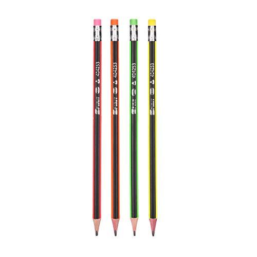 SPIRIT 404259 TTS Bleistift mit Radiergummi Neon 12 Stk, Farbig seortiert