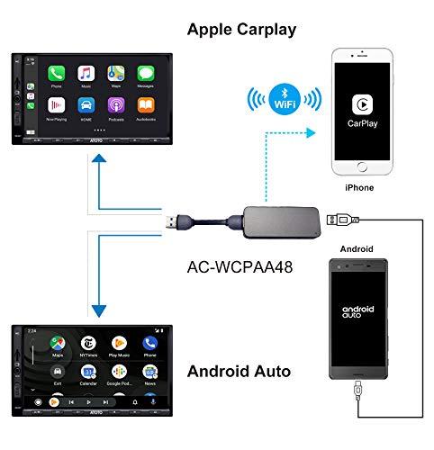 ATOTO AC-WCPAA48 Kabelloses CarPlay und kabelgebundenes Android Auto - Kompatibel mit iPhone oder Android Phone. Lassen Sie Ihr Telefon mit der ATOTO A6 Android-Autoradio funktionieren