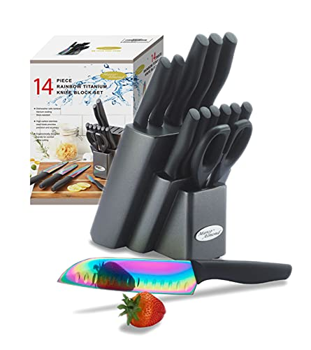 DISHWASHER SAFE KYA25 Rainbow Titanium Knife Block Set, Kitchen Knives Set with Block, 14-Piece...