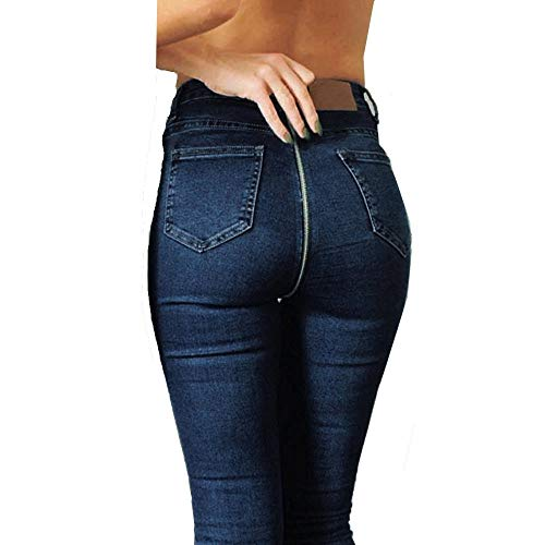 Cockjun Damen Skinny Jeans Reißverschluss hinten Casual Jeans Denim Bleistift Hosen Skinny Denim Hose Lange Hüftjeans Röhrenjeans Bleistift Hosen Legging Rissen Dehnbar Lässig Jeans Hosen