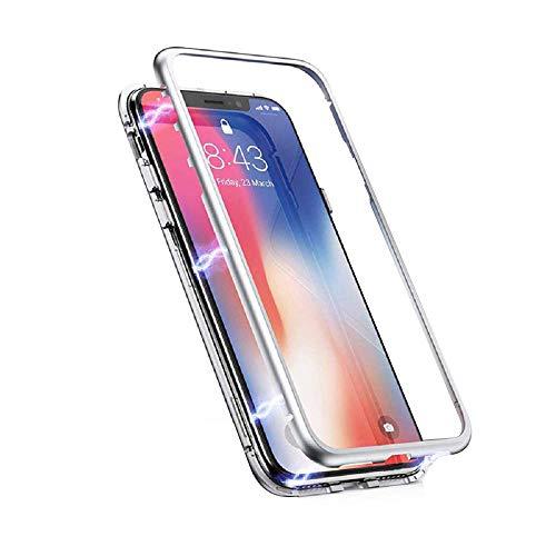 AIsoar Compatible/Replacement pour Coque Magnétique pour Samsung Galaxy S8 Plus Housse Rigide en Verre Trempé avec Cadre de Pare-Chocs 2 en 1 Protection 360° Etui pour Galaxy S8+ Plus (3)