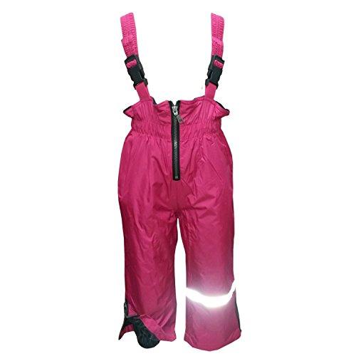 Outburst - Baby Mädchen Regenhose Matschhose Skihose Latzhose Fleecefutter wasserundurchlässig, pink,Größe 128
