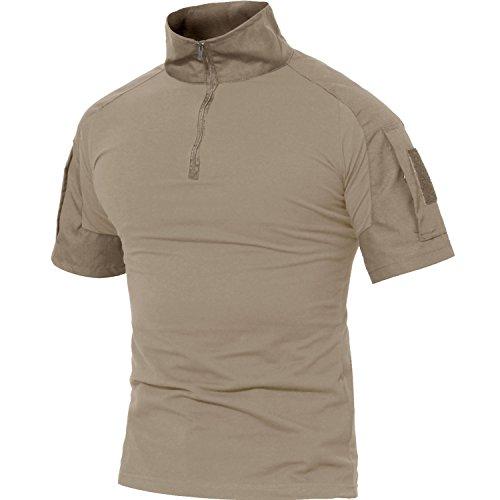 MAGCOMSEN Herren Outdoorshirt Tactical Camo Shirt 1/4 Zip Shirt Slim Fit Trainingshirt Atmungsaktiv Herren Hemd Tarn Shirt mit Stehkragen Khaki M (Etikett: XL)