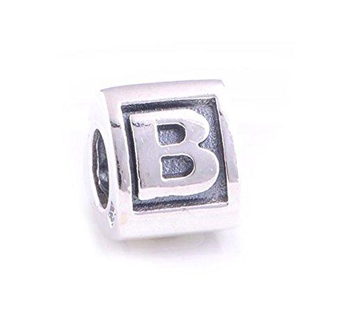 Charm En argent sterling 925 Lettre « B » pour bracelets type Pandora/Biagi/Chamilia et Trollbeads