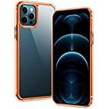 SPIDERCASE Designed for iPhone 12 Pro Max Case, Clear Soft TPU Hard PC, Reinforced Corner Shockproof Anti-Scratch Anti-Yellow Ultra Thin, Case for iPhone 12 Pro Max 6.7' 2020 Released-Orange