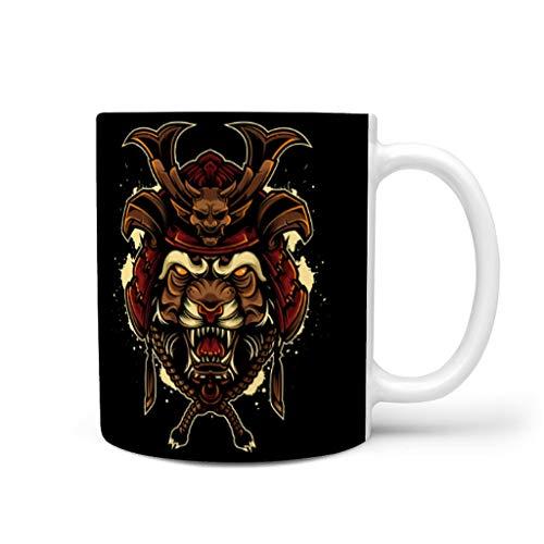 CCMugshop Divertida taza de café de cerámica, diseño japonés, tigre, Oni guerrero, color blanco, 330 ml