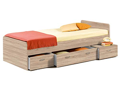 möbelando Bett Einzelbett Bettrahmen Kojen-Bett Bettgestell Jugendbett Bradford I Sonoma-Eiche