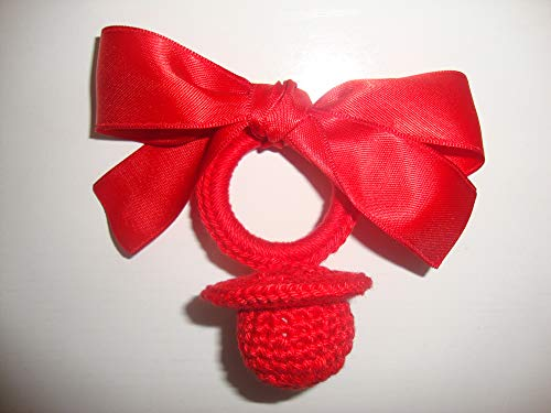 Chupete crochet rojo