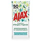 AJAX - Lingettes Végétales Multi-Surfaces Biodégradables et compostables- Sans Rinçage - Paquet de lingettes désinfectantes x 50 Unités
