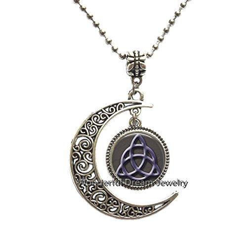 Waozshangu Fashion Celtic Knot Necklace glass pendant necklace fashion art picture jewelry charms witchcraft pendant necklaces,PU349 (Silver)