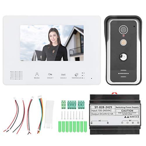 ASHATA Intercomunicador doméstico Videoportero Sistema de visión Nocturna de 2 Cables Monitor...