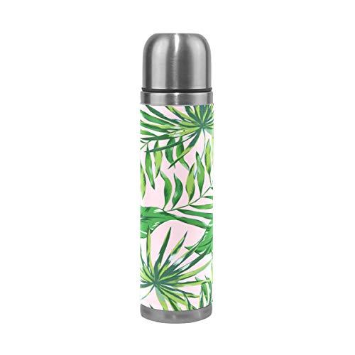 BKEOY Mug de voyage isotherme en acier inoxydable à double paroi anti-fuite avec feuilles de palmier vert imprimé personnalisé en cuir véritable 500 ml