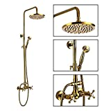 Shower Fixture 8 Inch Rainfall Shower Head with Handheld Spray Polish Gold Dual Knobs Mixer Bathroom Shower Combo Set Wall Mount