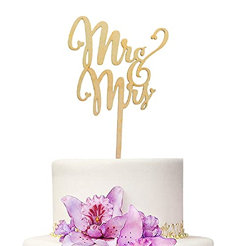 YAMI COCU Mr and Mrs Cake Toppers Rustic Wood Wedding Aniversary Party Engagement Decoration
