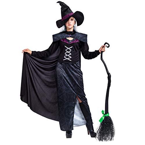 Disfraz de bruja para mujer, gótico malvado, color morado, juego de lujo con capa y sombrero para Halloween
