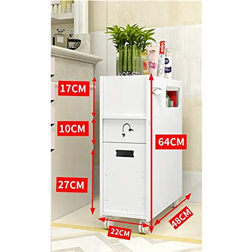 MOODSC WC gabinete lateral gabinete lateral plataforma de baño del piso para hendiduras de almacenamiento en rack de baño WC estante de la esquina del armario con ruedas de 22 * 48 * 64cm