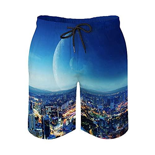 MayBlosom Pantalones cortos de playa para hombre, noche de la ciudad, de secado rápido, traje de baño casual hawaiano, trajes de baño con elástico