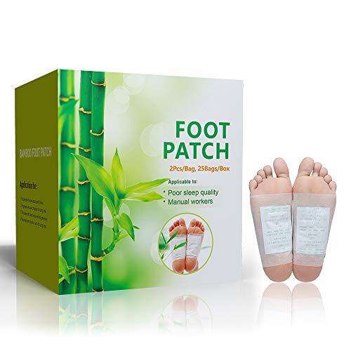 cheap4uk 50 Piezas Almohadillas de pie de bambú Natural Parche de Hierbas para aliviar el estrés del pie para Salud de los pies Dormir Mejor y aliviar el estrés