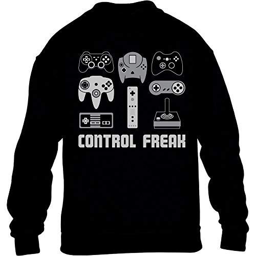 Geschenke für Gamer Spieler - Control Freak Kinder Pullover Sweatshirt 134-146 Schwarz