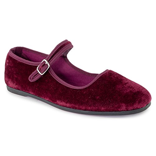 RF ROOM OF FASHION Mary Jane Ballet Flats - Stylish and Comfortable Ballerina Style Flat Shoes - Women's Mary Janes with a Low Heel and Bow Back Straps - Dress Up or Down - Slip-on Wine Velvet (8.5)