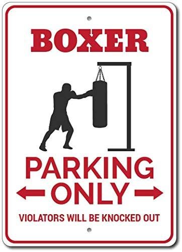 Señal de metal para bóxer, regalo de boxeador y estacionamiento, para decoración de boxeador y hombre, diseño de cueva, 30,5 x 40,6 cm