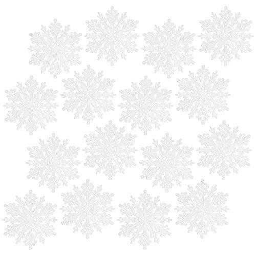 com-four 16 Decorazioni per Alberi di Natale con Effetto Glitter - Fiocco di Neve Decorazione Natalizia - Ciondolo per Natale in Bianco (16 Pezzi - 10 cm)